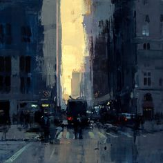 """New York Sunset No. 1"""" 12 x 12 inches Oil on Panel 2015"""
