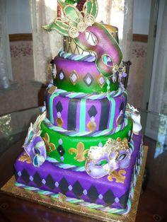 mardi gras cakes pictures   15th Birthday Mardi Gras Quinceanera Cake