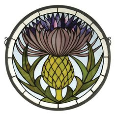 Meyda Tiffany Tiffany Floral Thistle Medallion Stained Glass Window 28436 Features: Glass window Tiffany's thistle window is an original design utilizing art nouveau styling Handcrafted utilizing the copper foil construction process 175 Pieces of Stained Glass Tattoo, Tiffany Stained Glass, Faux Stained Glass, Stained Glass Lamps, Tiffany Glass, Stained Glass Panels, Stained Glass Projects, Stained Glass Patterns, Leaded Glass
