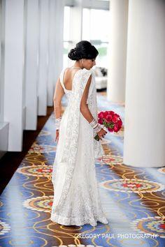 so elegant - white sari #indian #wedding