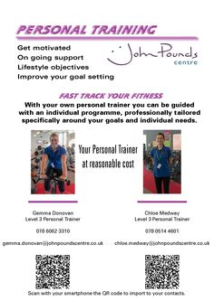 Personal level 3 trainers are available to boost your fitness regime.  Scan their QR codes to contact them directly or,  Email: reception@johnpoundscentre.co.uk and ask for a Centre Activities and Programme to be emailed to you. 23, Queen Street John Pounds Walk Portsmouth PO1 3HN UK +44 (0)23 9289 2010 reception@johnpoundscentre.co.uk  #johnpoundscentre #community #fitness #personaltraining #coaching #gym #health #exercise