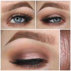 This look is a sweet and sexy nude eyeshadow combination then lightly lined and topped with lashes. Love this look from day to night with the products listed here.