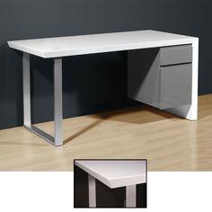 Media Office Desk in High Gloss White/Grey, 4027-158