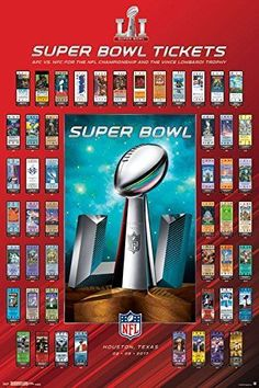 Trends International Super Bowl LI Tickets Collector's Edition Wall Poster x x Collector's Edition Poster Officially Licensed Poster High Quality - Crystal Clear Image Printed on FSC-Certified Paper at FSC-Certified Printers Ready to Frame Super Bowl Tickets, Poster Wall, Poster Prints, Art Print, Bart Starr, History Posters, Ticket Design, Sports Wall, Sports