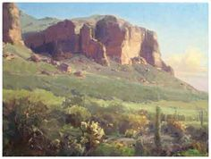 Lost Dutchman by Kathryn Stats ~ 18 x 24 Pastel Landscape, Watercolor Landscape, Abstract Landscape, Landscape Paintings, Mountain Landscape, Desert Landscape, Desert Art, Watercolor Pictures, Classic Paintings