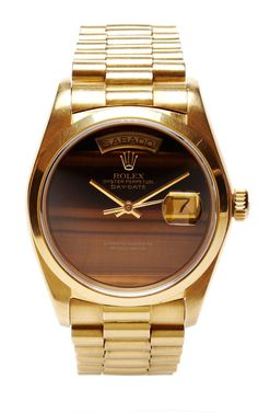 Vintage 18K Gold Rolex Day-Date with Rare Tiger's Eye Dial by CMT Fine Watch and Jewelry Advisors - Moda Operandi