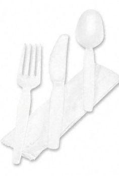 Dixie-Products-Dixie-Wrapped-TablewareNapkin-Packet-Plastic-Utensil-Set-wNapkin-White-250Carton-Sold-As-1-Carton-Knife-fork-teaspoon-and-napkin-Individually-wrapped-sets-0