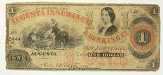 1860 One Dollar 1 Bill Augusta Insurance & Banking Co. GEORGIA note COLORFUL | eBay