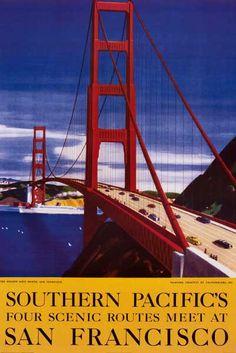 San Francisco Golden Gate Bridge Travel Art Poster 24x36 – BananaRoad