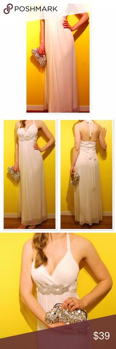 """Halloween costume Greek goddess maxi dress Beautiful maxi dress than can be perfect for Halloween attire, worn once as an actual wedding dress, size S. Good condition, just couple of the stones are missing, but really not noticeable. There are some small pulls but thanks to the material (100% polyester) its almost seamless. Length From armpit down is 49,5"""" Width from armpit to armpit is 15"""". It has some padding built into the Dress. It will make a spooky ghost bride costume or elegant…"""