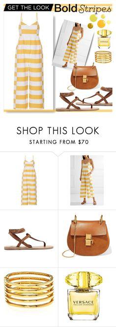 """BOLD STRIPES - YELLOW"" by loewenangel ❤ liked on Polyvore featuring Mara Hoffman, Ancient Greek Sandals, Chloé, Kenneth Jay Lane, Versace, white, yellow, striped, stripedpants and jumpsuit"