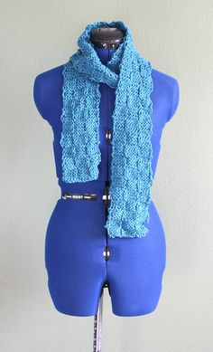 Deep turquoise scarf in checker texture knit, cotton/wool/acrylic blend, very cute gift