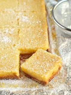 Whole Lemon Bars Recipe~ Use the whole lemon in these bars. If you're looking for an amazing lemon bar, this is it. They're sweet, tart and a cinch to make! Meyer Lemon Recipes, Lemon Desserts, Just Desserts, Baking Recipes, Cookie Recipes, Dessert Recipes, Dessert Ideas, Lemon Bars, Snacks