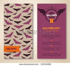 Halloween two sides poster or flyer. Vector illustration. Halloween party invitation with bats. Place for your text message. Halloween menu design. - stock vector