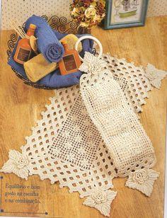 Crochê da Reh: Jogo de Banheiro Flores