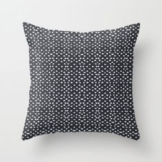 Black and White Polka Dots Throw Pillow by HomeDecorKATNAWLINS, $28.00