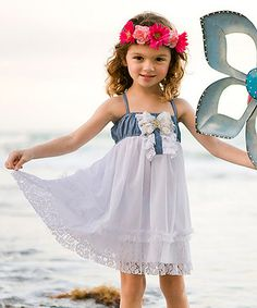 Look what I found on #zulily! White Denim & Lace Babydoll Dress - Toddler & Girls by Mia Belle Baby #zulilyfinds