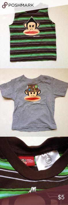 ❌Final Price❌🎉3️⃣!!!!Julius Jr. Paul Frank Shirts Brown and green striped cotton sleeveless shirt, gray t-shirt, and long sleeve gray/black band. Great shirts for Julius Jr. Fans! Shirts & Tops