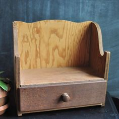 Vintage Handmade Wooden Shelf with Drawer Doll by drowsySwords, $25.00