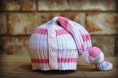 upcycled newborn hat. $15.00, via Etsy.