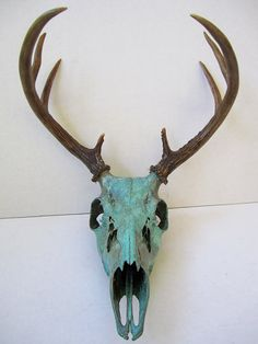 Copper Painted Natural Aqua Patina Deer Skull  ~ I'm doing something similar to Eric's deer...a hunter's trophy becomes art ;D