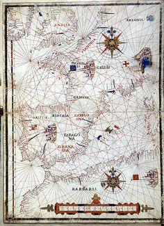 Carta de las costas del mar Mediterraneo - #Cartografía - Portulanos