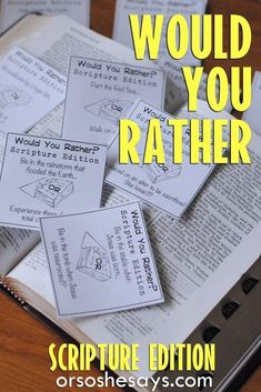 Our Would You Rather Scripture Game is not only a lot of fun, but it will also help you teach your family about the importance of Agency. This free Family Night printable is guaranteed to get your family talking and laughing. Get all the info at . Sunday School Games, Sunday School Lessons, Bible School Games, Youth Activities, Church Activities, Church Games, Young Women Activities, Summer Activities, Young Women Handouts