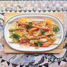 Oven roasted carrots with lentils in an orange and mustard sauce // Ugnsrostade morötter med linser i apelsin- och senapsdressing