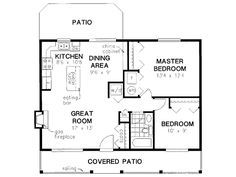 Cabin Style House Plan - 2 Beds Baths 900 Sq/Ft Plan Floor Plan - Main Floor Plan - flip and change furnace space to laundry closet. House Plans One Story, Modern House Plans, Small House Plans, Story House, The Plan, How To Plan, Plan Plan, Small Floor Plans, Cabin Floor Plans