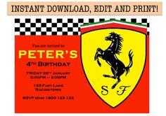 Ferrari Birthday Party Invitation  Instant PDF by ReadySteadyPrint