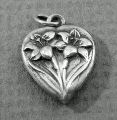 Sterling Silver Puffy Heart Charm with Flowers