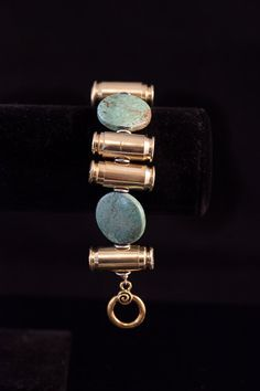 """Ammo Bullet Bracelet-""""Targets and Turquoise""""- 40mm, 45mm bullets, turquoise stone beads"""