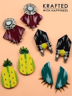 Shop from our wide range of & ✓ Cash on delivery ✓ Discount ✓ Latest Designs Diy Fabric Jewellery, Fabric Earrings, Thread Jewellery, Handmade Beaded Jewelry, Textile Jewelry, Embroidery Jewelry, Earrings Handmade, Diy Jewelry Necklace, Stud Earrings