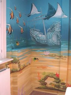 Under the Sea Mural - love this theme. Of course we would have to find one with a shark incorporated in it.