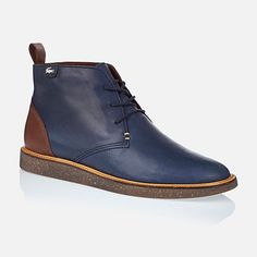 Blue leather shoes for men