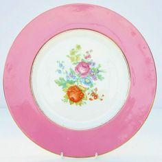 Vintage Crown Staffordshire Bone China Cake Plate Pink Floral