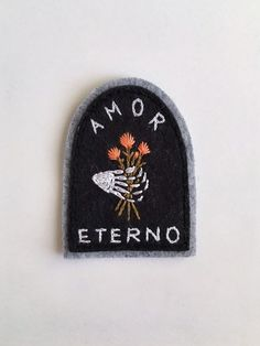 Hand Embroidered Patch, Amor Eterno Tombstone | Skeleton Hand with Flowers | Wool Blend Felt Sew On Patch ~ 3""
