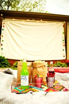 Outdoor Movie Night   *All you need is a white sheet, a projector and popcorn!!!
