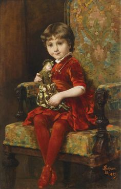 Aloys Hannes Schramm 1864-1919 Girl with Doll