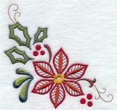 Vintage Embroidery Designs Machine Embroidery Designs at Embroidery Library! - Borders and Corners (Redwork and Vintage) Embroidery Needles, Crewel Embroidery, Vintage Embroidery, Christmas Embroidery Patterns, Free Machine Embroidery Designs, Lazy Daisy Stitch, Christmas Crafts, Christmas Christmas, Vintage Christmas