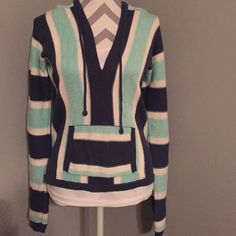 Navy Blue, Teal, and White Striped Sweatshirt American Eagle Navy Blue, Teal, and White Striped Sweatshirt. Great for bikini cover up!! Size Small American Eagle Outfitters Sweaters