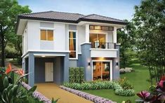 This two storey 3 bedroom house design has a total floor area of 150 sq. with 2 bathrooms. Simple yet colorful villa design meets the needs of many families in the future with all the functions, facilities and amenities. Two Story House Design, 2 Storey House Design, House Front Design, Shipping Container Home Designs, Container House Design, Interior Exterior, Exterior Design, Modern Houses Pictures, Color Celeste