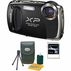 Fuji 16233130 KIT FinePix XP50 with DC-115R Carry Case and 8GB SD Card by Fuji. $230.00. The Fuji 16233130 KIT comes complete with a FinePix XP50 14MP Black Compact Digital Camera, carry case and 8GB SDHC Card. The camera is waterproof to a depth of 5m and captures movies and still images underwater. The casing withstands shocks from a height of 1.5m, and temperatures down to -10 degreesC. Dust is not a problem with all the camera's access points specially sealed f...