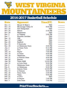West Virginia Mountaineers 2016-2017 College Basketball Schedule
