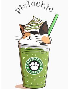 Pistachio CATpuccino from amcart - Cute stuff - Cat Drawing Cute Food Drawings, Cute Animal Drawings Kawaii, Cute Cat Drawing, Cute Drawings Of Animals, Art Drawings, Kawaii Doodles, Cute Doodles, Kawaii Cat, Kawaii Wallpaper