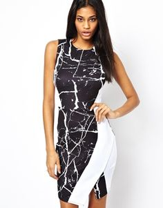 Image 1 of ASOS Asymmetric Cracked Print Dress