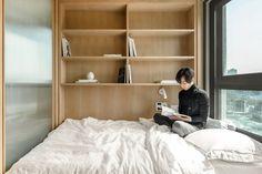 LIFE micro-apartments | Ian Lee Seoul Apartment, Korean Apartment, Micro Apartment, Apartment Furniture Layout, Space Saving Furniture, Apartment Interior, Cosy Aesthetic, Micro Studio, Living Area