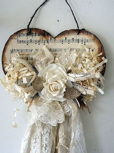 Shabby tattered heart wall hanging rustic farmhouse cream and white handmade romantic decor made from salvaged home decor Anita Spero Design