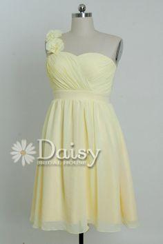 Plus Size Women Dress,Light Yellow Chiffon Bridesmaid Dress,Short Party Dress,Homecoming Dress,Chiffon Dress,Bridesmaid Dresses(BM032102)