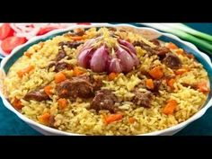 Плов - Pilaf (also known as plov), is a dish in which rice is cooked in a… Good Food, Yummy Food, Beef And Rice, Russian Recipes, Rice Dishes, Risotto, Oriental, Food Porn, Food And Drink